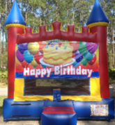 Happy Birthday Red Blue Yellow Castle bounce house rental in Daytona Beach, FL